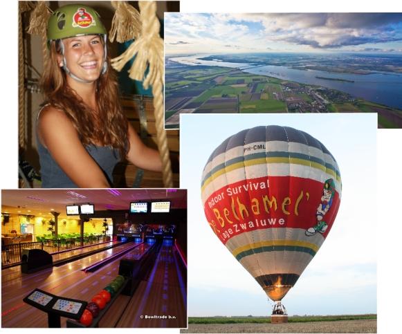 Ballonvaren, bowlen en klimmen bij het groepsuitje van De Belhamel