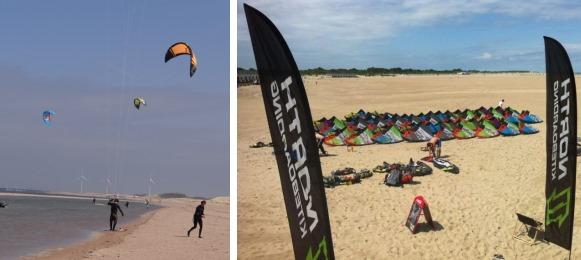 Kitesurfen op het strand van Vrouwenpolder